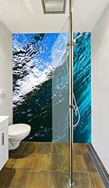 bathroom shower with adjustable hand held shower rose