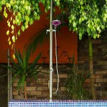 Outdoor shower used in pool area